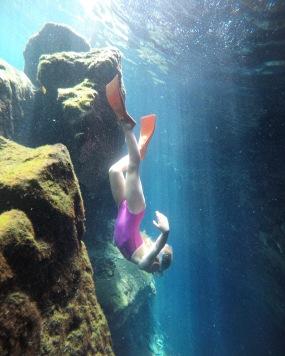 Potápka Linda v cenote Azul